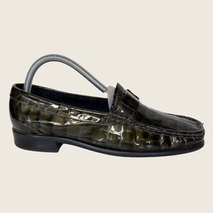 Etienne Aigner Chicklet Green Faux Croc Loafers